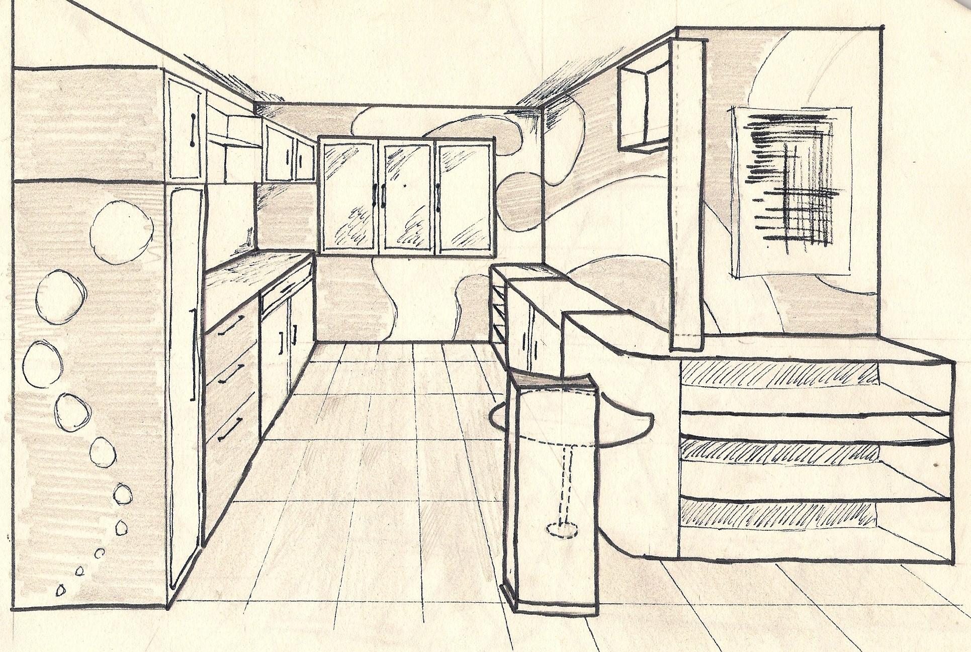 croquis dessin interieur maison